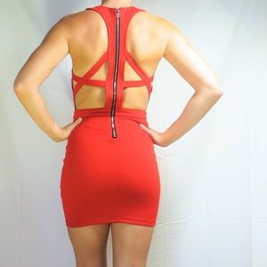 Tobi Red Bodycon Mini Dress with Back Cut-Outs